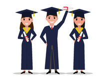 Vector cartoon student girl, boy graduate. Isolated white background. Character with square academic cap and diploma in hands. Man, woman received a degree Stock Images
