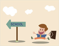 Vector cartoon of Student go to school Royalty Free Stock Image