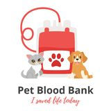 Pet donor concept. Vector cartoon style background of pet donate blood concept. Donor day. Motivational poster. Cat and dog sitting near blood bag.n stock illustration