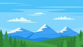 Vector cartoon style background with rocky mountains Royalty Free Stock Photos