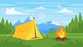 Rocky mountains, forest, camp fire. Vector cartoon style background with rocky mountains, forest, camp fire and tourist tent Royalty Free Stock Photo