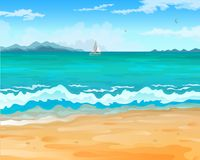 Sea beach. Vector cartoon style background of sea shore. Sailboat on the horizon against the backdrop of mountains. Good sunny day vector illustration