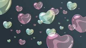 Background with soap bubbles. Vector cartoon style background with soap heart shaped bubbles vector illustration