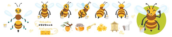 Bee cute character for animation. Vector cartoon style bee cute character for animation. Different emotions and beekeeping symbols. Isolated on white background Stock Image
