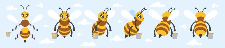 Bee cute character for animation. Vector cartoon style bee cute character for animation. Isolated on blue sky background Royalty Free Stock Photos