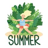 Summer girl swimmer. Vector cartoon style blond girl wearing bikini and floating circle jumping on background of green exotic leaves and bushes. Summer hand Royalty Free Stock Image