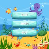 Vector cartoon style buttons design sealife background. Vector cartoon style buttons with text for game design on sealife background illustration Stock Photography
