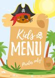 Design for kids menu. Vector cartoon style design for kids menu. Children menu meal template. Tropical island background with big shit of paper and cute Stock Photos