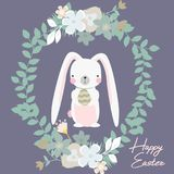 Vector cartoon style easter bunny greeting card. Illustration Royalty Free Stock Photo