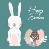 Vector cartoon style easter bunny greeting card. Illustration Stock Image