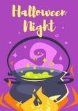 Halloween poster design. Vector cartoon style Halloween poster design template with holiday witch`s kettle Stock Image