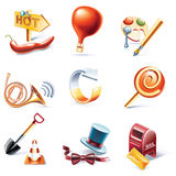 Vector cartoon style icon set. Part 11. Set of highly detailed cartoon icons Royalty Free Stock Photos