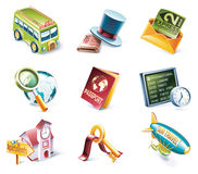 Vector cartoon style icon set. Part 12. Traveling Royalty Free Stock Images