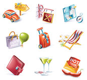 Vector cartoon style icon set. Part 13. Traveling. Set of highly detailed cartoon icons stock illustration