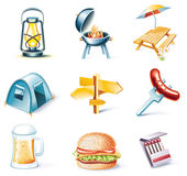 Vector cartoon style icon set. Part 15. Traveling. Set of highly detailed cartoon icons Stock Images