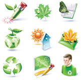 Vector cartoon style icon set. Part 18. Ecology Royalty Free Stock Images