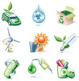 Vector cartoon style icon set. Part 19. Ecology Stock Photo