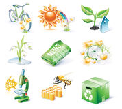Vector cartoon style icon set. Part 21. Ecology Royalty Free Stock Images
