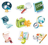 Vector cartoon style icon set. Part 23. School. Set of highly detailed cartoon icons Royalty Free Stock Photos