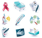 Vector cartoon style icon set. Part 27. Medicine. Set of highly detailed cartoon icons Stock Images