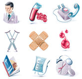 Vector cartoon style icon set. Part 28. Medicine Stock Photos