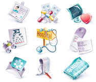 Vector cartoon style icon set. Part 29. Medicine Stock Images