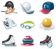 Vector cartoon style icon set. Part 37. Sport Royalty Free Stock Photo