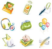 Vector cartoon style icon set. Part 8. Set of highly detailed cartoon icons Stock Photography