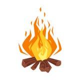 Vector cartoon style illustration of bonfire. Royalty Free Stock Image