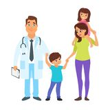 Doctor with mother and children. Vector cartoon style illustration of children`s doctor with mother and her children - little boy and girl. Isolated on white Stock Image