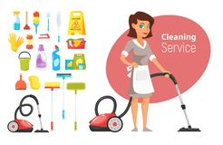 Woman household character vacuuming. Vector cartoon style illustration of cleaning service woman and stuff. Woman household character vacuuming the floor Stock Image