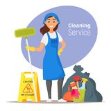 Household cleaning concept. Vector cartoon style illustration of compass. Household cleaning concept Royalty Free Stock Image
