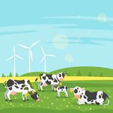 Cows graze in a field. Vector cartoon style illustration of cows graze in a field with eco windmill. Good sunny day. Nature background stock illustration