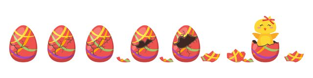Chick hatch animation from  egg. Vector cartoon style illustration of cracking colorful striped Easter egg for animation. Cute yellow chick with red bow hatched Stock Photos
