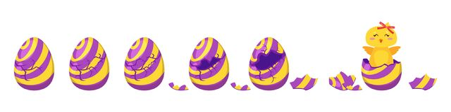 Chick hatch animation from  egg. Vector cartoon style illustration of cracking colorful striped Easter egg for animation. Cute yellow chick with red bow hatched Stock Image
