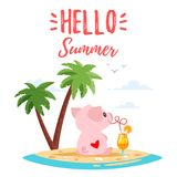 Summer cute pink pig. Vector cartoon style illustration of cute pink pig sitting backwards with heart on its back and drink cocktail. Tropical island with palm stock illustration