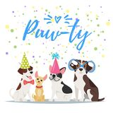 Dog Birthday party greeting card. Vector  cartoon style illustration of Dog party greeting card with dogs in festive cone colorful hats Stock Image