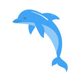 Vector cartoon style illustration of dolphin. Icon for web. Isolated on white background Royalty Free Stock Images