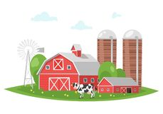 Farm building - rural barn. Vector cartoon style illustration of farm building - barn on rural landscape. A cow is grazing in a meadow Stock Image