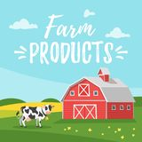 Farm building - rural barn. Vector cartoon style illustration of farm building - barn on rural landscape. A cow is grazing in a meadow Royalty Free Stock Photo