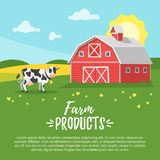Farm building - rural barn. Vector cartoon style illustration of farm building - barn on rural landscape. A cow is grazing in a meadow. Sunny good day Royalty Free Stock Images