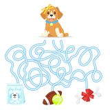 Maze or labyrinth for children. Vector cartoon style illustration of funny maze or labyrinth for children. Help the puppy dog find food, ball or bone Stock Images