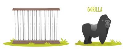 Illustration of gorilla. Vector cartoon style illustration of gorilla. Zoo cage. isolated on white background Stock Photo