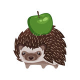 Vector cartoon style illustration of hedgehog with green apple. stock illustration