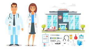 Doctor man and woman characters Royalty Free Stock Photo