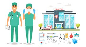 Surgeon man and woman characters Stock Images