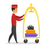 Vector cartoon style illustration of hotel bellboy Stock Images