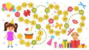 Happy birthday board game template Stock Photo