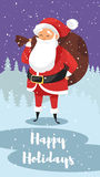Vector cartoon style illustration of Santa with bag of gifts. Stock Image