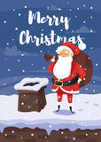 Vector cartoon style illustration of Santa with bag of gifts. Stock Photography